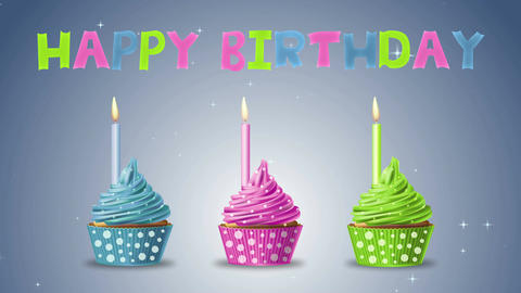 Cupcake happy birthday CG動画素材
