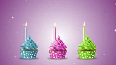 Cupcake three candle stars Animation