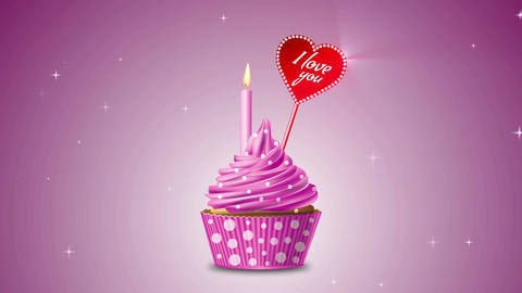 Cupcake candle i love you Animation
