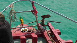 Thailand Ko Samui Island 007 bug crowsnest of tender boat above turquoise water Footage