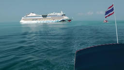 Thailand Ko Samui Island 003 cruise ship in turquoise water becomes smaller Footage