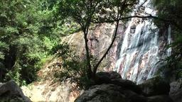 Thailand Ko Samui Island 012 waterfall behind rocks Footage