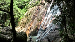 Thailand Ko Samui Island 015 waterfall with its lake below Footage