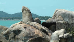 Thailand Ko Samui Island 019 grandfather rock looks like a phallus Footage