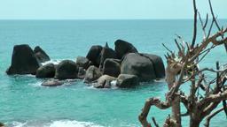 Thailand Ko Samui Island 020 black cliffs in turquoise water Footage