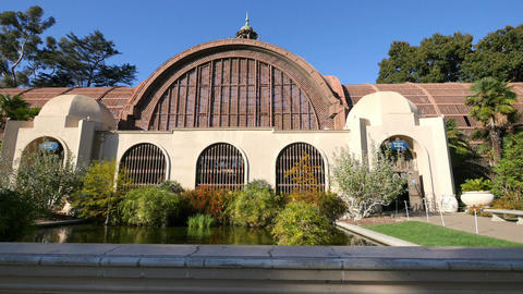 Video of botanical building in Balboa Park in San Diego in 4K Footage