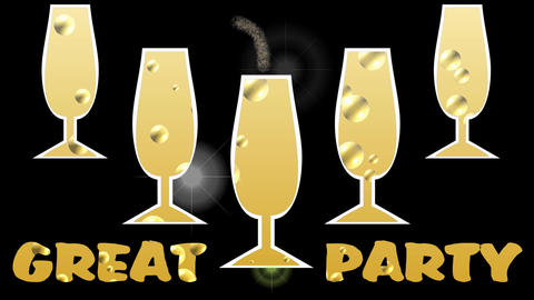 Great party animated banner with champagne glasses and moving bubbles Animation