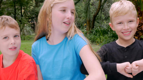 Hand held of three siblings sitting together talking in a park Footage