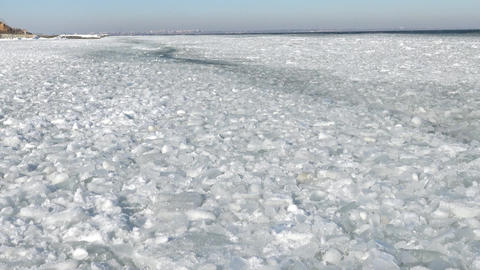Floating ice in the sea near the shore Live Action