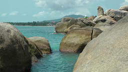 Thailand Ko Samui Island 026 rock formation in turquoise water Footage