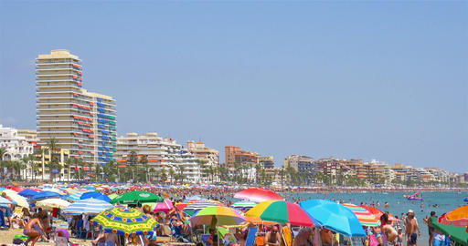 People Having Fun On Summer Holiday In Peniscola Beach At Mediterranean Sea Footage