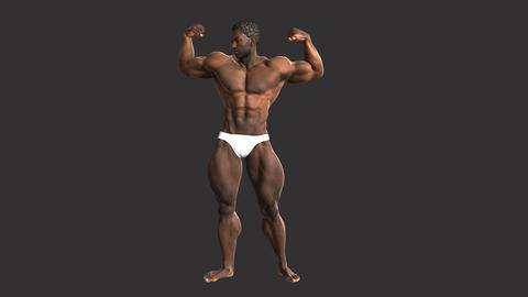 African male weightlifters bodybuilder demonstrates his muscles, animation, Alph Animation