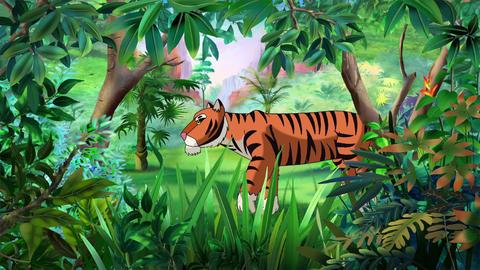 Bengal Tiger walks through Jungle Animation