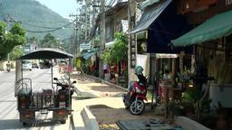 Thailand Ko Samui Island 058 a motorcycle taxi on the curb Footage