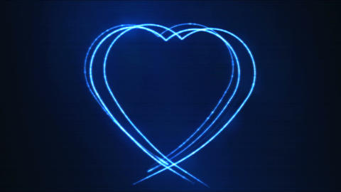 Drawing Heart Shape Motion Background Animation - Loop Blue CG動画素材