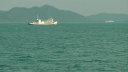 Thailand Ko Samui Island 090 a passenger ship passes by the island landscape Footage