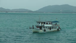 Thailand Ko Samui Island 092 white trip boat passes by the island landscape Footage