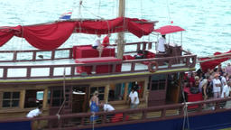 Thailand Ko Samui Island 095 medium shot of a passing sailing ship Footage