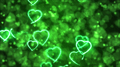 Drawing Heart Shapes Motion Background Animation - Loop Green