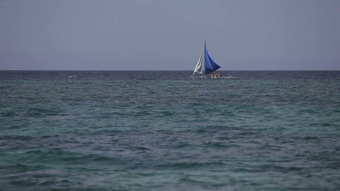 Sailboat floats on sea Footage