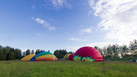 Inflating A Hot Air Balloons stock footage