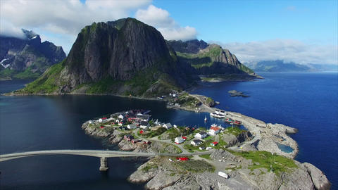 Fishing village of Hamnoya on Lofoten islands Footage