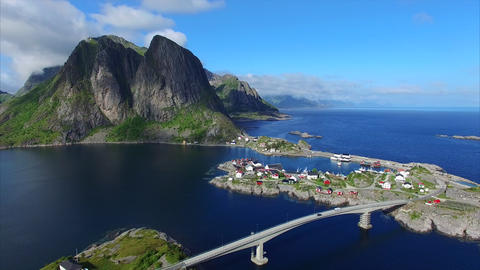 Bridge to village Hamnoya on Lofoten islands, Norway Footage
