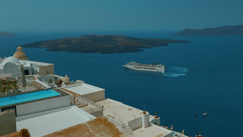 A Cruise in the Mediterranean - A Panoramic View from the Greek Island of Santor Footage