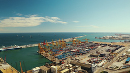 Panoramic View Of The Port Of Barcelona stock footage