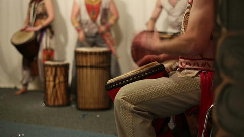 Musical group plays ethnic drums djembe Footage
