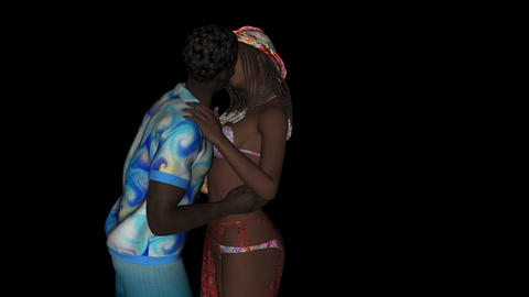 Caribbean kiss, kissing couple Animation