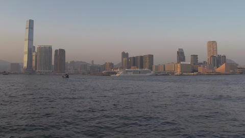 Victoria Harbour in Hong Kong at sunset time Footage
