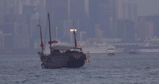 Traditional Chinese style sailboat Footage