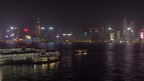 Time lapse of night ferry in Victoria Harbour Footage