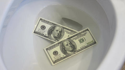 Video of flushing dollars in toilet bowl in 4K Live Action