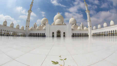 UAE Abu Dhabi, Grand Mosque Timelapse 1 Stock Video Footage
