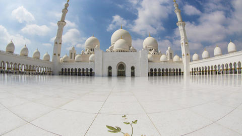 UAE Abu Dhabi, Grand Mosque Timelapse 1 Stock Video Footage