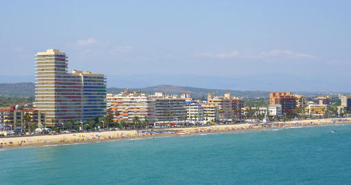 Panoramic Skyline View Of Peniscola City Beach Resort At Mediterranean Sea Footage