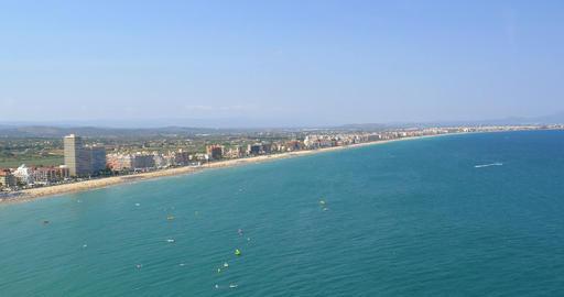 Panoramic Skyline View Of Peniscola City Beach Resort At Mediterranean Sea Footage