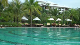 Thailand Pattaya 001 ravindra beach resort swimming pool and garden Footage