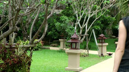 Thailand Pattaya 006 ravindra beach resort garden with lanterns, exotic plants Footage