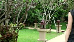 Thailand Pattaya 006 ravindra beach resort garden with lanterns, exotic plants Footage