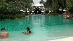 Thailand Pattaya 012 ravindra beach resort, dreamlike pool landscape Footage