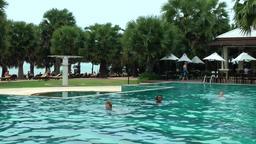 Thailand Pattaya 018 ravindra beach resort, turquoise pool landscape Footage
