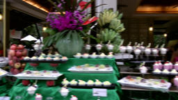 Thailand Pattaya 029 ravindra beach resort, pan over prepared buffet Footage