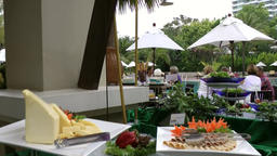 Thailand Pattaya 030 ravindra beach resort, pan over prepared buffet Footage
