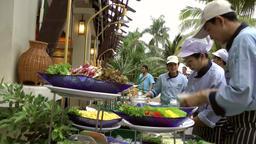 Thailand Pattaya 033 ravindra beach resort, waiters prepare the buffet Footage