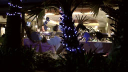 Thailand Pattaya 035 ravindra beach resort,evening scene,illuminated restaurant Footage