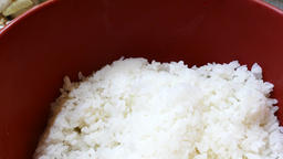 Close up shoot of hot white rice Footage