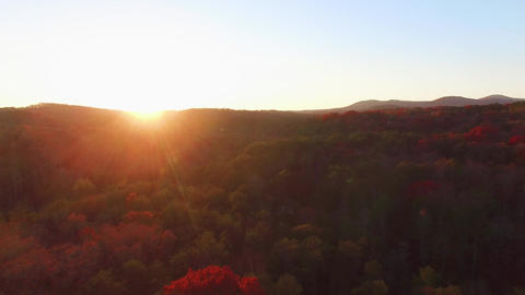 Aerial of Mountain Sunset During Autumn, 4K Footage